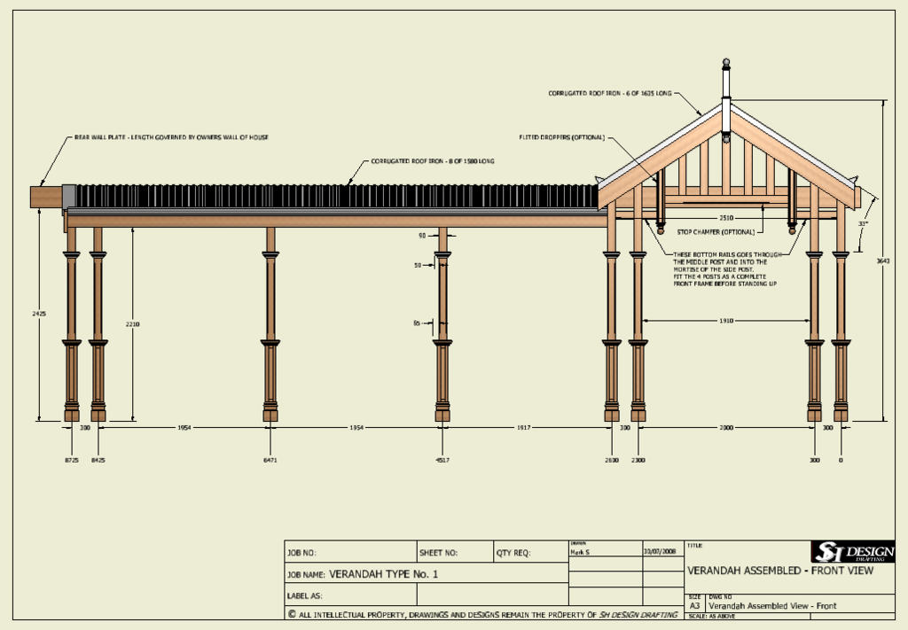TRADITIONAL VERANDAH V01 With Flat and Gable Sections