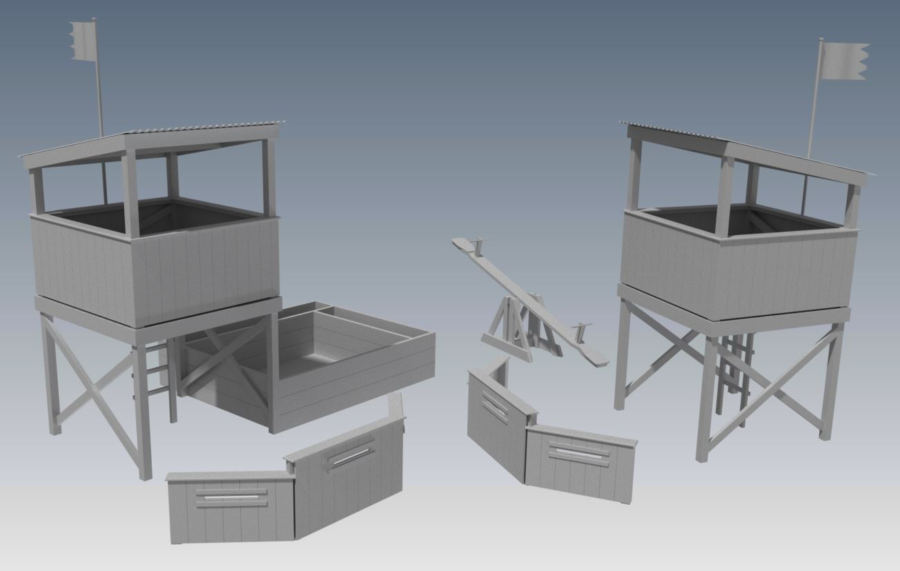 COMBAT CUBBY V05 COMBO 1 With Bunker Barricade, Trap Door Entry, Sand Pit and Seesaw