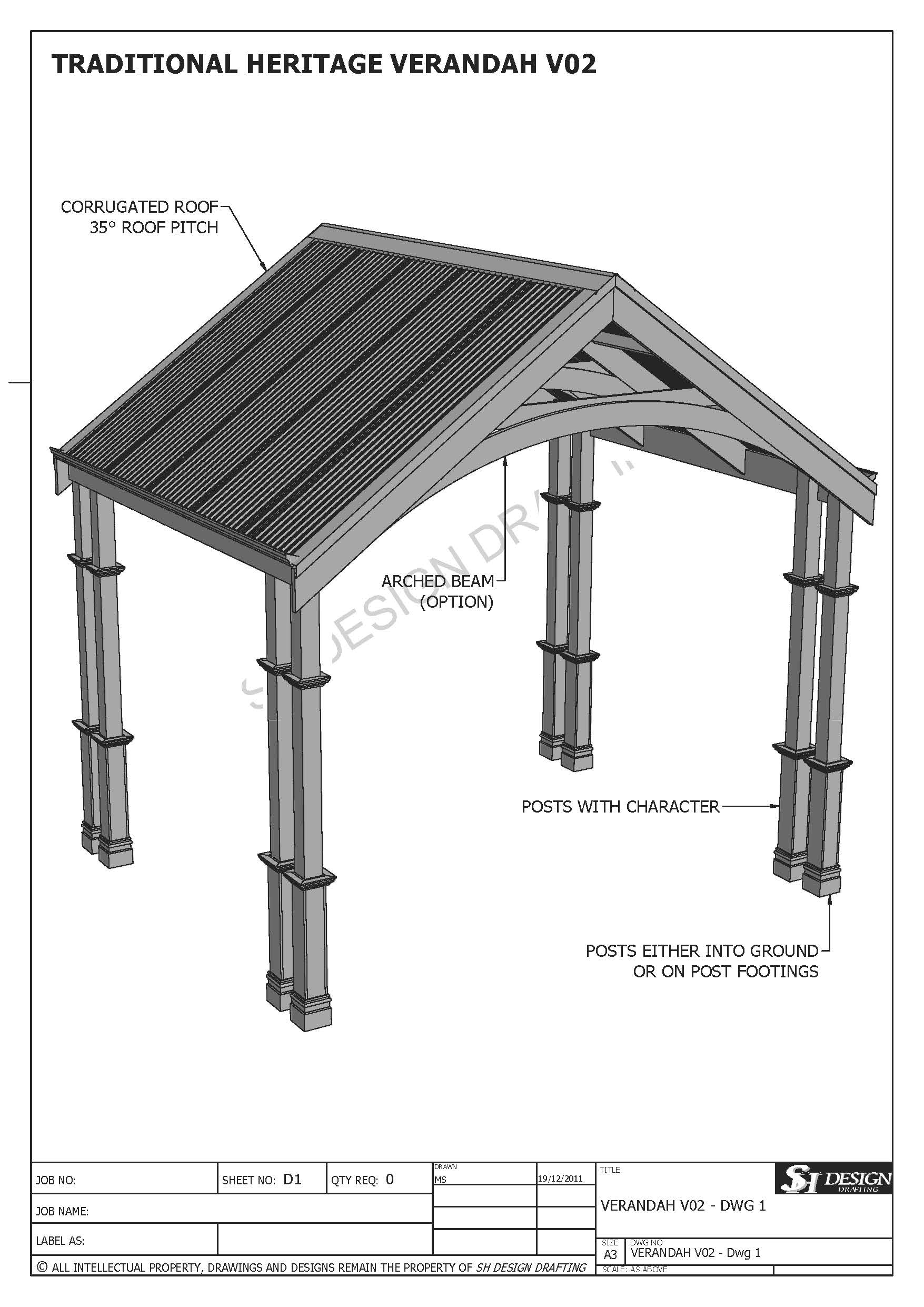 TRADITIONAL HERITAGE CARPORT/VERANDAH V02 (Building Plans ONLY)