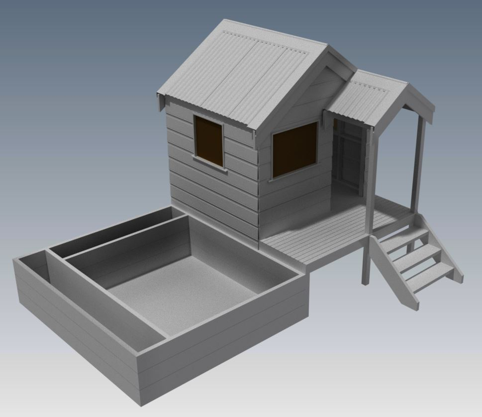 CUBBY HOUSE V02 With Small Porch and Sand Pit
