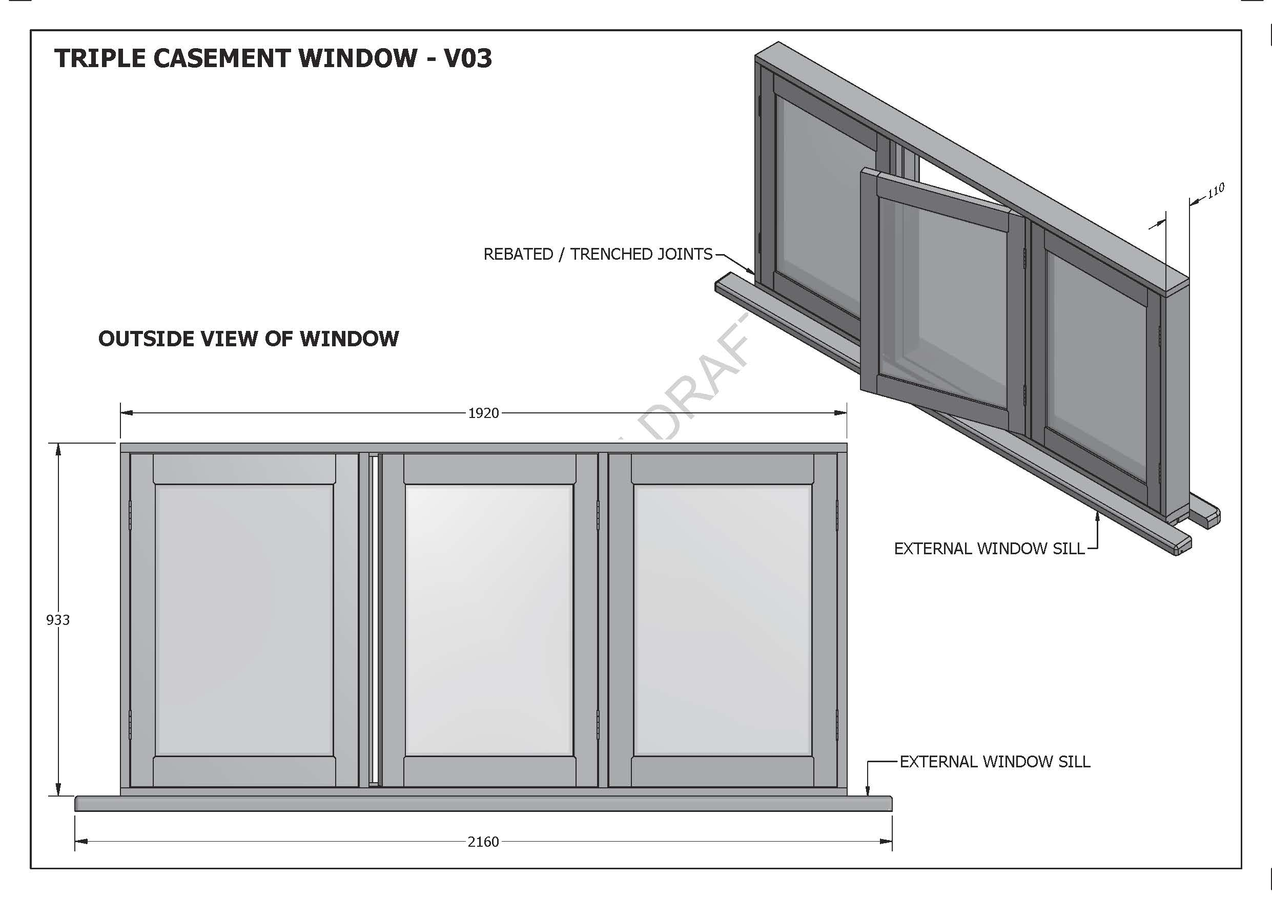 TRIPLE CASEMENT WINDOWS V01 - Build your own and SAVE BIG $$$