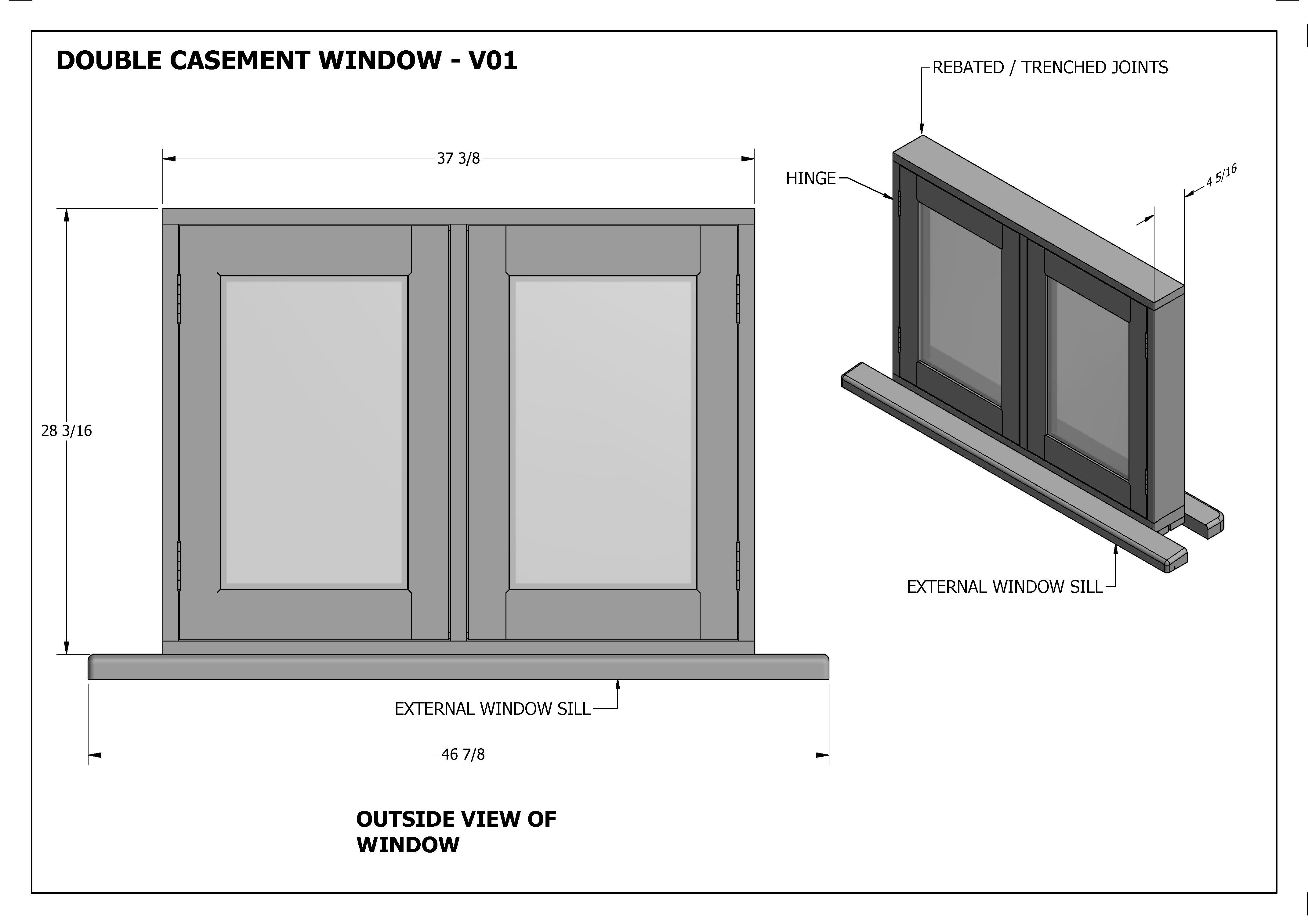 DOUBLE CASEMENT WINDOWS V01 - Build your own and SAVE BIG $$$