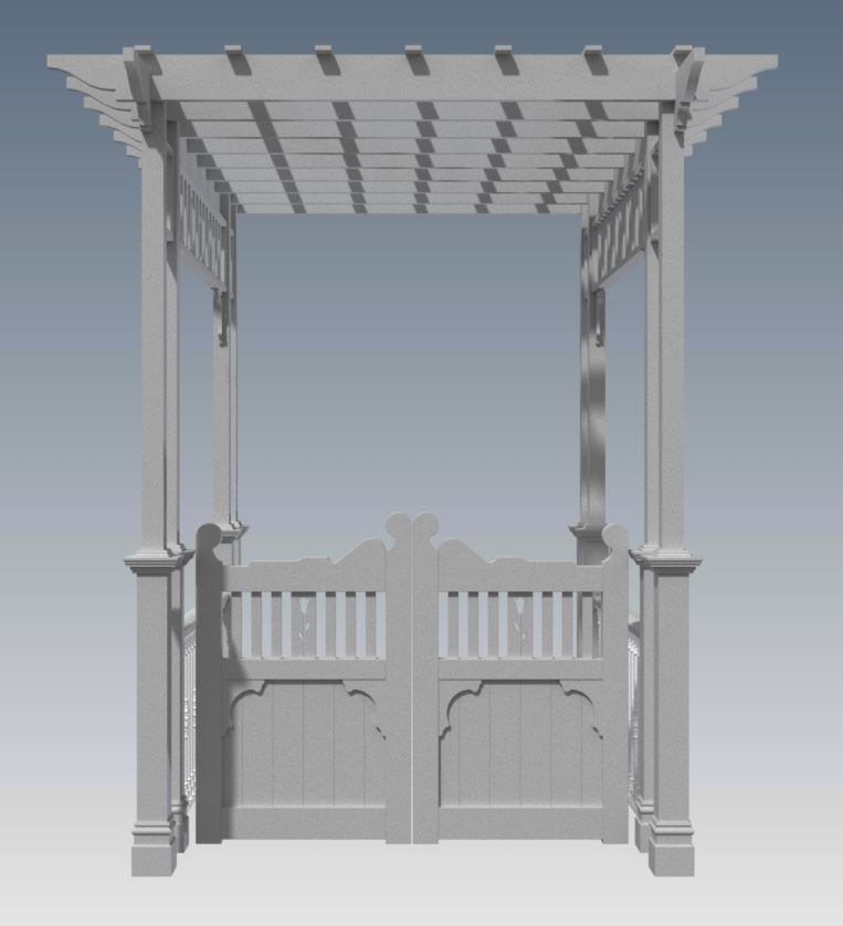 GRAPEVINE ENTRANCE ARBOR V03 With Gates and Balustrade (Building Plans ONLY)